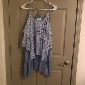 Umgee - two tone blue lace tunic/dress